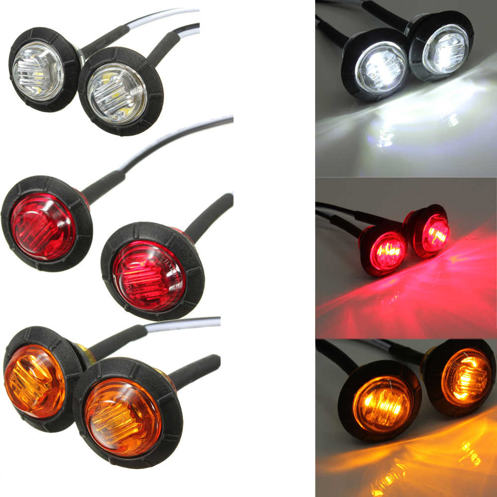 "2PCS 12v 3LED 3/4"" Round Trailer Side Marker Lights Yellow White Red For Trucks Clearance Lights Truck Turn Signal Lamp"