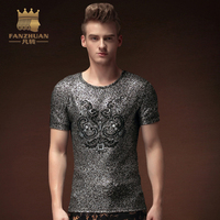 FANZHUAN Featured Brands Clothing Men T Shirt Youth Fashion T Shirt Mens Tees Hot Silver Printing