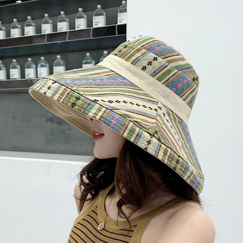 HTB1aFSGbDjxK1Rjy0Fnq6yBaFXaN - Double sided irregular Pattern Bucket Hat Women Summer Cotton Breathable Leisure Bob Caps Outdoor Sports Casual Dome Panama Cap