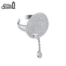 Effie Queen Silver Color Big Finger Ring Paved Full Clear AAA Cubic Zirconia Luxury Women Rings Dangle Jewelry Wholesale DR186 luxury aaa cubic zirconia micro pave setting big multi layered full finger ring for women r7568