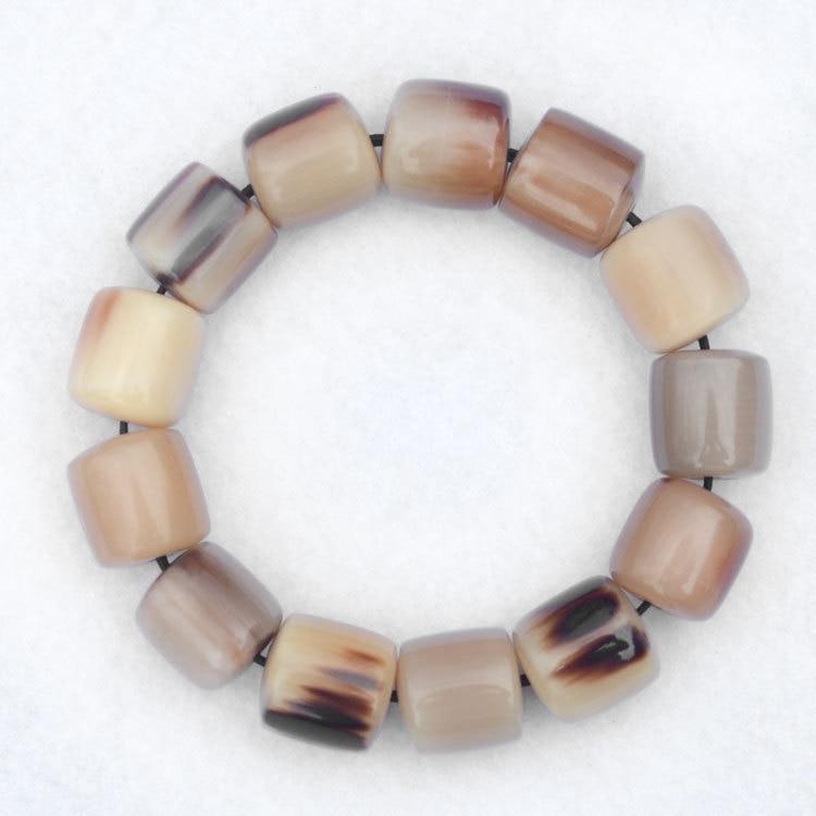 Summber Man Healthy Bracelet Tibet Natural Yak Horn Cylinder Beaded Bracelets 18mm Free Ship