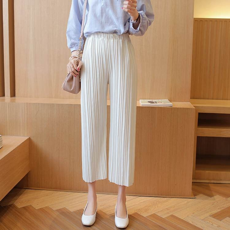 2016-women-wide-leg-legging-calf-length-summer-pant-black-white-fashion-pleated-pant-lady-quality