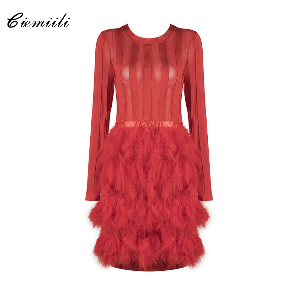 CIEMIILI Fashion Feathers Full Sleeves O Neck Above Knee Celebrity Women 2018 Party Sexy Dress Mesh