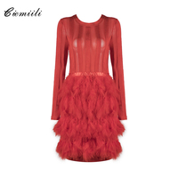 CIEMIILI Fashion Feathers Full Sleeves O Neck Above Knee Celebrity Women 2017 Party Sexy Bandage Dress