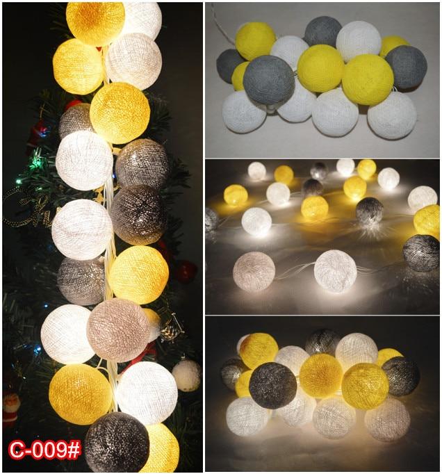 20PCS/SET Cotton Ball String Lights Fairy Party Wedding Home Garden Decor Gray-yellew-white Mixed (C-009#)
