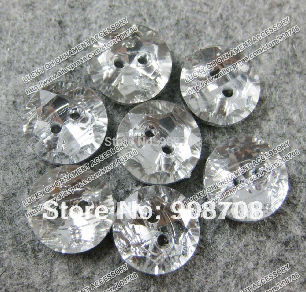 H066 white plastic shirt buttons 11.5mm round crystal buttons 180pcs two holes garment button