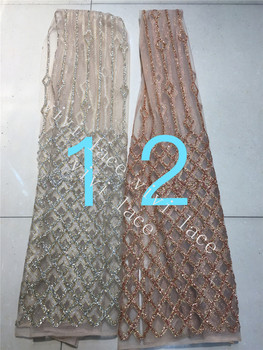 5yards A023  gold/nude gold hand glued print glitter beads  tulle african India dress fabric for sawing /fashion design