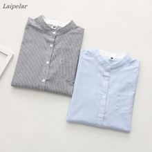 Women Blouses Shirt Female Cotton 2018 New Spring Autumn Stripe Long Sleeve Shirts Tops Ladies Clothing S-XL Laipelar