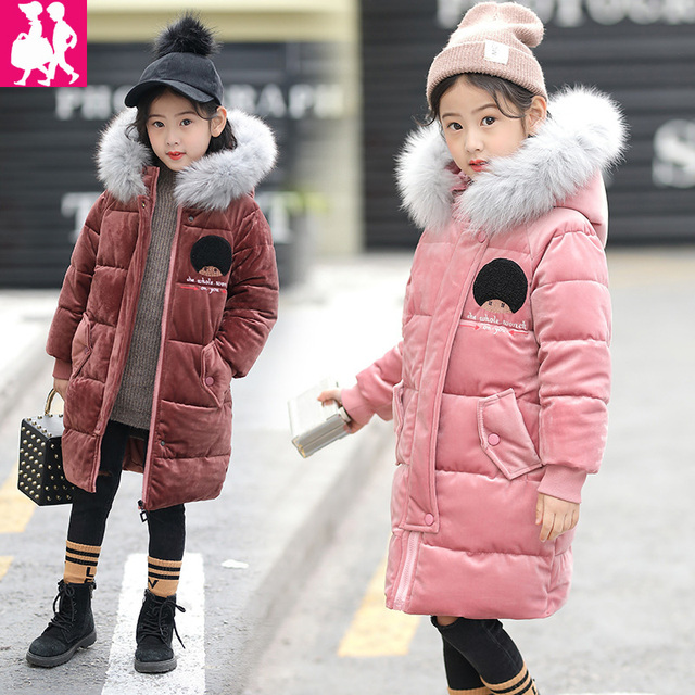 719489c1fd6d 2018 New Children Coat Baby Girls Winter Wool Collar Bow Coat Girl s ...