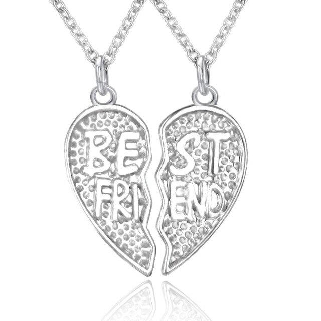 Best friend design split heart pendants necklaces silver plated best friend design split heart pendants necklaces silver plated clear crystal necklace for women men bff aloadofball Gallery