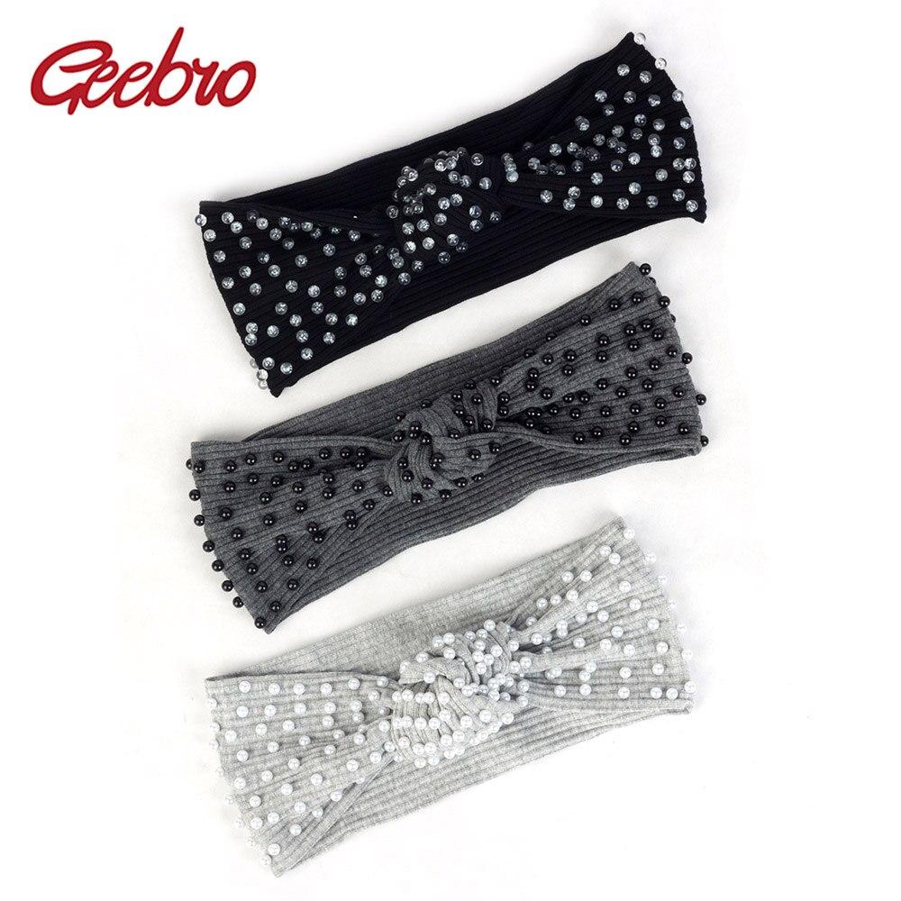 Geebro pérolas acessórios grânulos com nervuras hairband para mulher atado listrado elástico bandana feminino turbante envolve algodão boho dd801