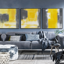 Modern Watercolors Yellow and Gray Abstract Canvas Painting Art Print Posters Wall Picture for The Home Decoration Decor