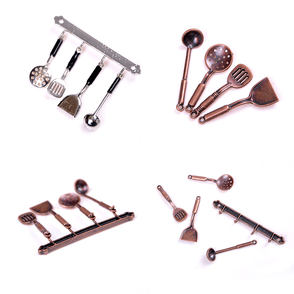5pc/set 1:12 Bronze Dollhouse Model Cook Set Doll House Miniature Metal Kitchenware Classic Kitchen Supplies Parts Toys Hobbies