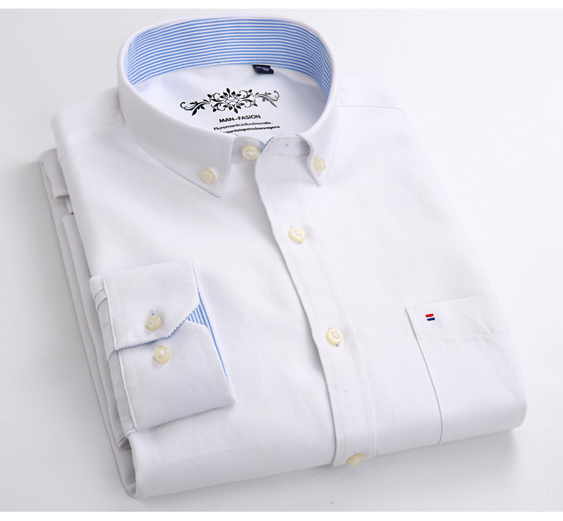 Mens Long Sleeve Solid Oxford Dress Shirt with Left Chest Pocket High-quality Male Casual Regular-fit Tops Button Down Shirts 3