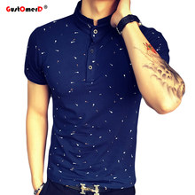 2019 Summer Guitar Printed Stand Collar Polo Shirt Men Short Sleeve Casual Men Shirts Slim Fit Polo Homme Cotton Mens Polos(China)