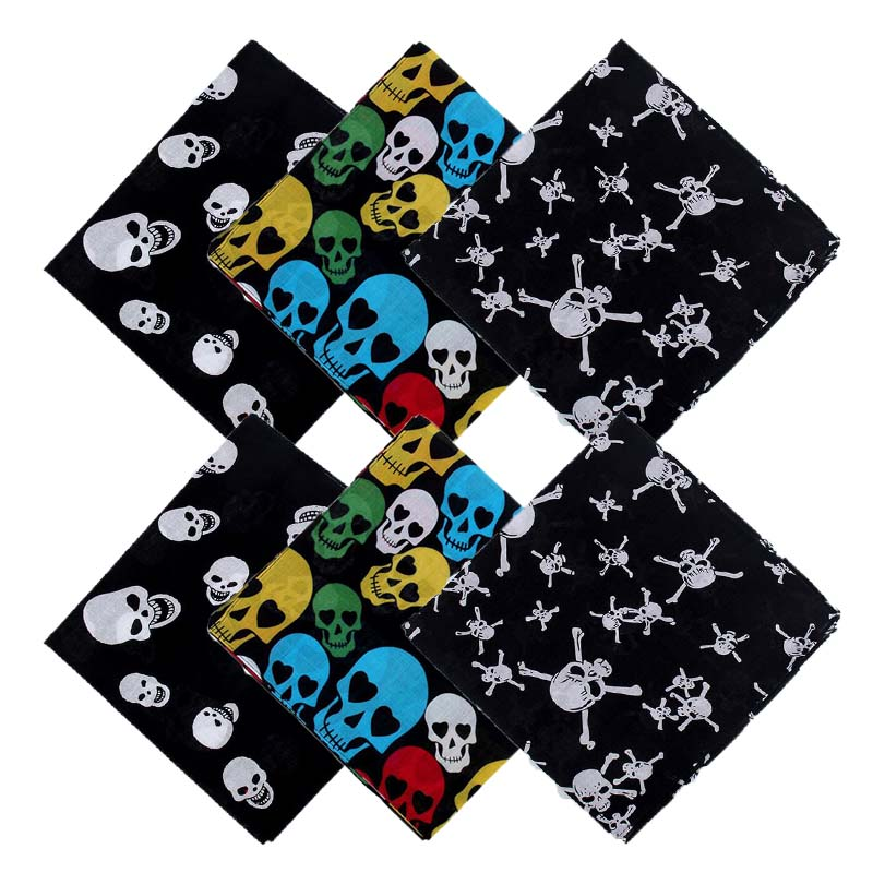 Outdoor Cycling Bicycle Cotton Headscarves Skull Print Head Wrap Bandanas Scarf