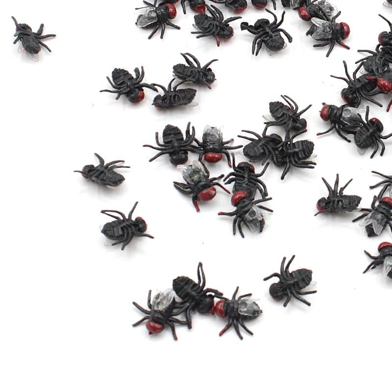 10Pcs Housefly Halloween Gadget Plastic Joke Decoration Props Rubber Centipede Toy Gags Practical Jokes Toys Plastic Bugs Hot