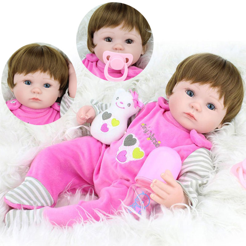 HOT 17inch Soft Silicone Reborn Dolls Toys 45cm Lifelike Girl Baby Dolls Newborn  Reborn Doll Brinquedos For Birthday Gift hot sale 2016 npk 22 inch reborn baby doll lovely soft silicone newborn girl dolls as birthday christmas gifts free pacifier