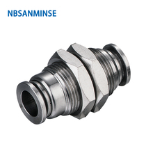 NBSANMINSE 5Pcs/lot SSPMM Stainless Steel Bulkhead Union Fitting Anti corrosion Food Grade Pneumatic Air Tube Fitting