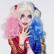 Harley Quinn Comando Suicida Peluca Cosplay Rosa Azul Degradado pelo de cola de Caballo Cola Doble Headwear Partido Fancy
