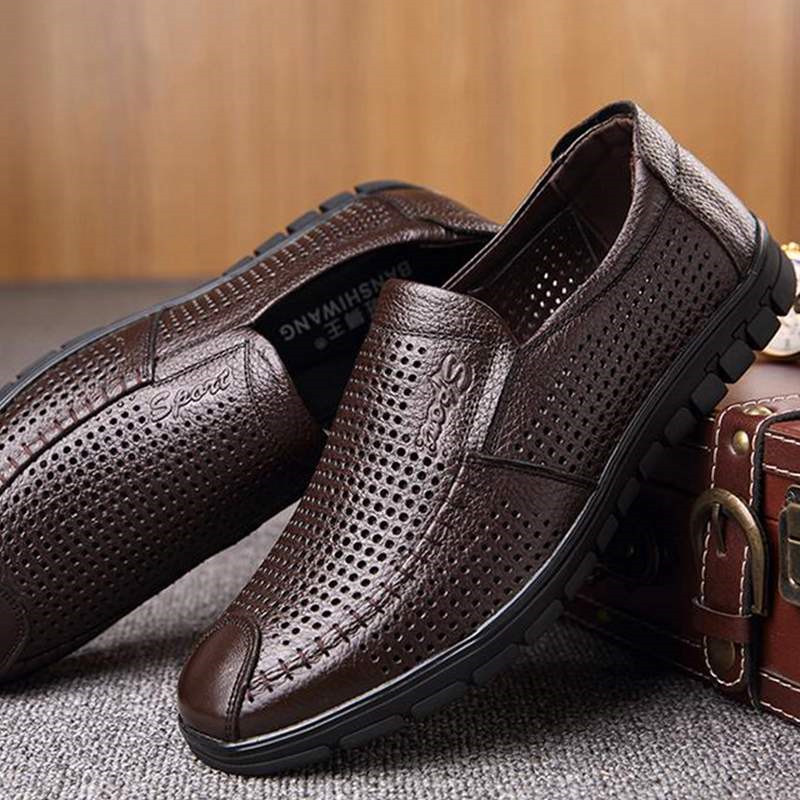 Men Sandals Genuine Leather Sandals Casual Shoes Man Loafers Outdoor Hollow Fashion Soft Bottom Breathable Light Driving Shoes in Men 39 s Sandals from Shoes