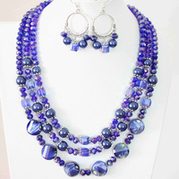 Blue crystal shell earrings 3rows necklace round beads making lady jewelry set 18 22 B1004