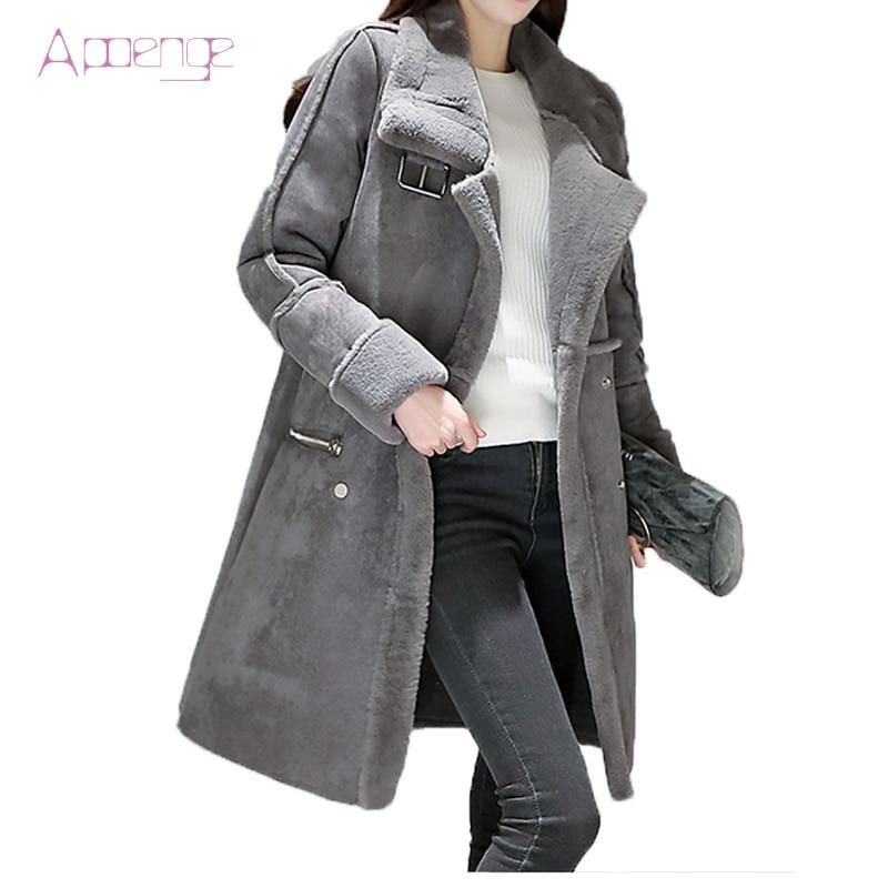 APOENG winter women padded jackets long lamb coats thicker warm clothes lambswool parkas silm cotton women button coat LZ418