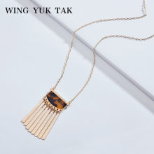 wing yuk tak Bohemian Vintage Gold Color Tassel Necklaces For Women Geometric Leopard Print Fashion Pendant Necklace 2018(China)