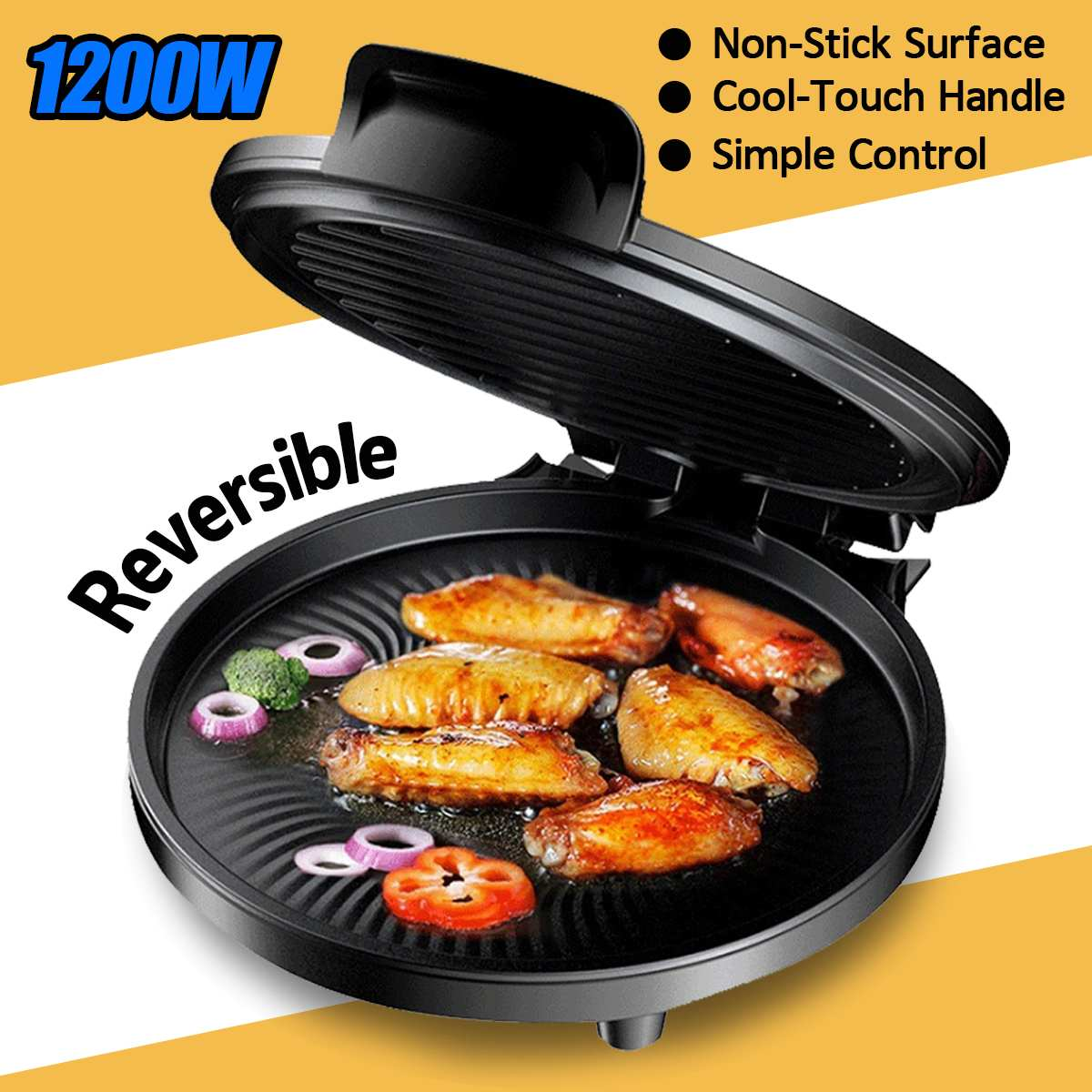 Gril électrique de Table de fabricant de Pizza de plaque de cuisson de 1200 W Barbecue antiadhésif gril électrique de casserole de viande pour la maison de cuisine de partie