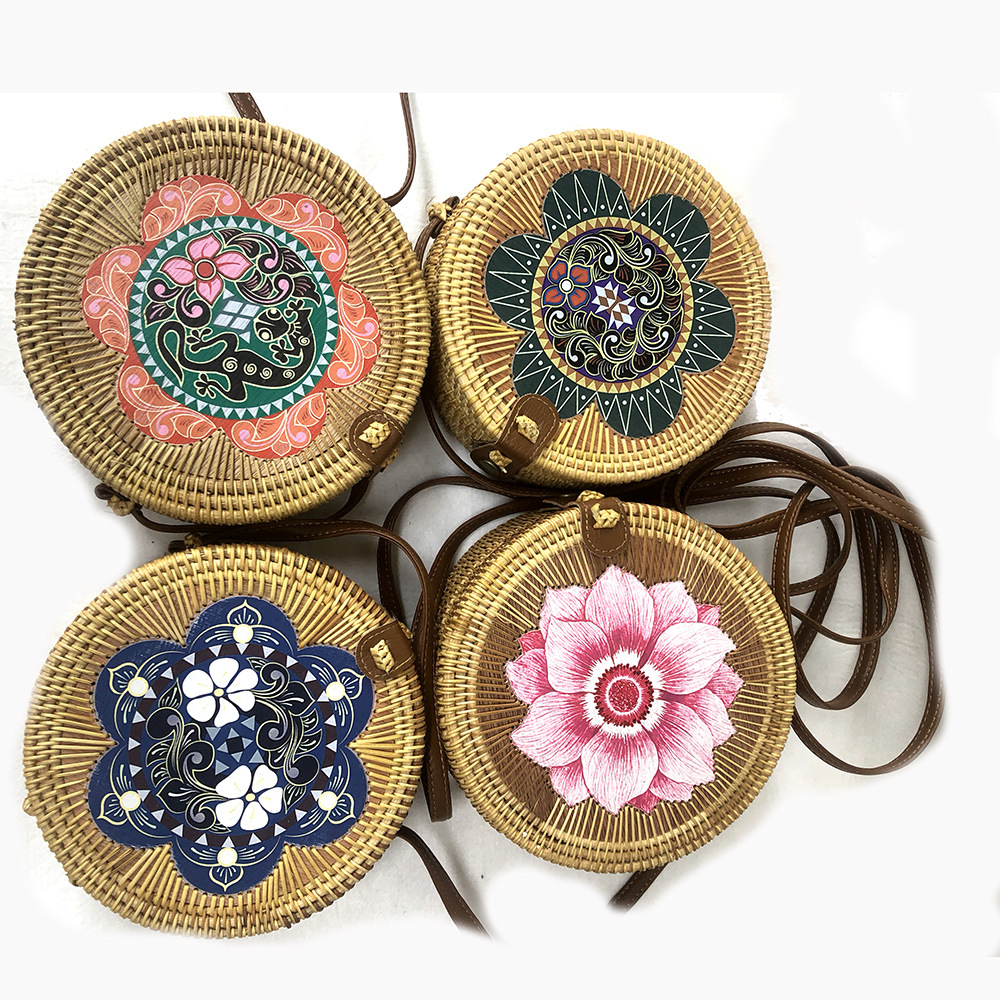 Handmade Woven Beach Circle Bohemia Handbag Round Multi Style Vintage Handmade Rattan Woven Shoulder Bag Women Cosmetic Bag