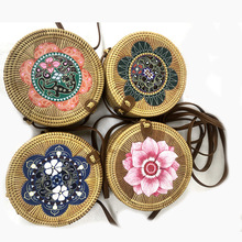 Handmade Woven Beach Circle Bohemia Handbag Round Multi Style Vintage Handmade Rattan Woven Shoulder Bag Women Cosmetic bag купить недорого в Москве