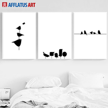 Minimalist Bird Wire Wall Art Canvas Painting Nordic Posters And Prints Black White Animals Pictures For Living Room Decor