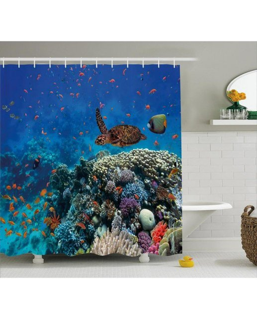 Ocean Life Shower Curtain Tropical Turtle Print For BathroomFabric Washable Waterproof With Rings