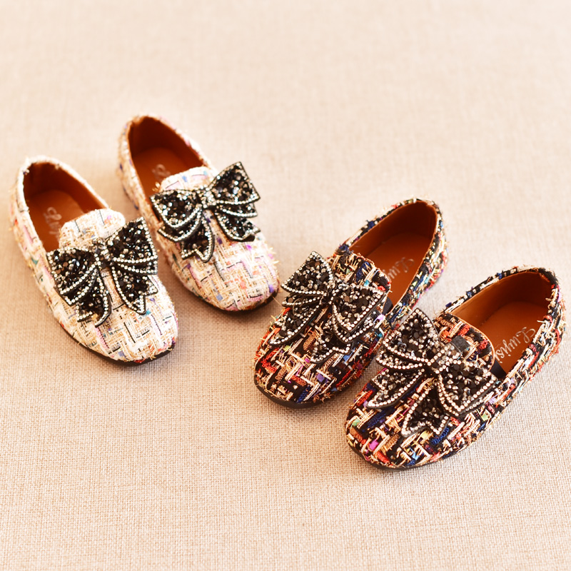 2018 New Baby Girls Flats Big Bow Rhinestone Princess Shoes Slip on  Colorful Kids Spring Shoes