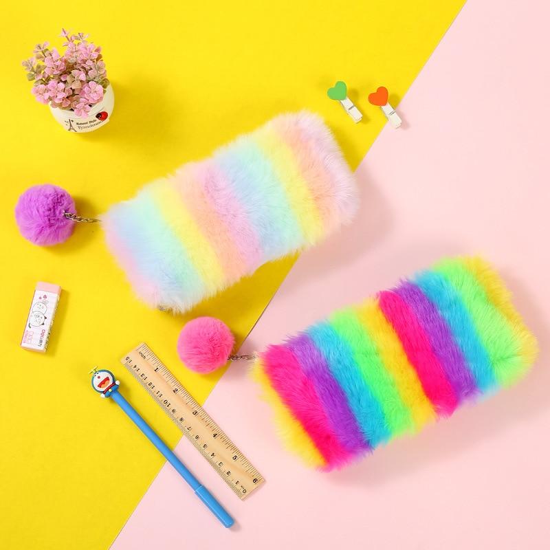Rainbow Plush Sequins Pencil Case Stationery Storage Organizer Bag School Office Supply Escolar
