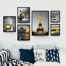 Landscape Nordic Canvas Painting Home Decor Wall Art Building City Yellow Scenery Pastoral Bedroom Hotel Living Room Picture DIY