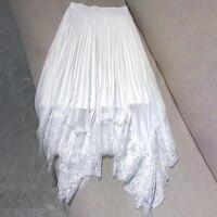 Женские роскошные юбки 2019 летний кружевной подол юбки женские модная длинная юбка элегантный высокое качество одноцветная юбка женский