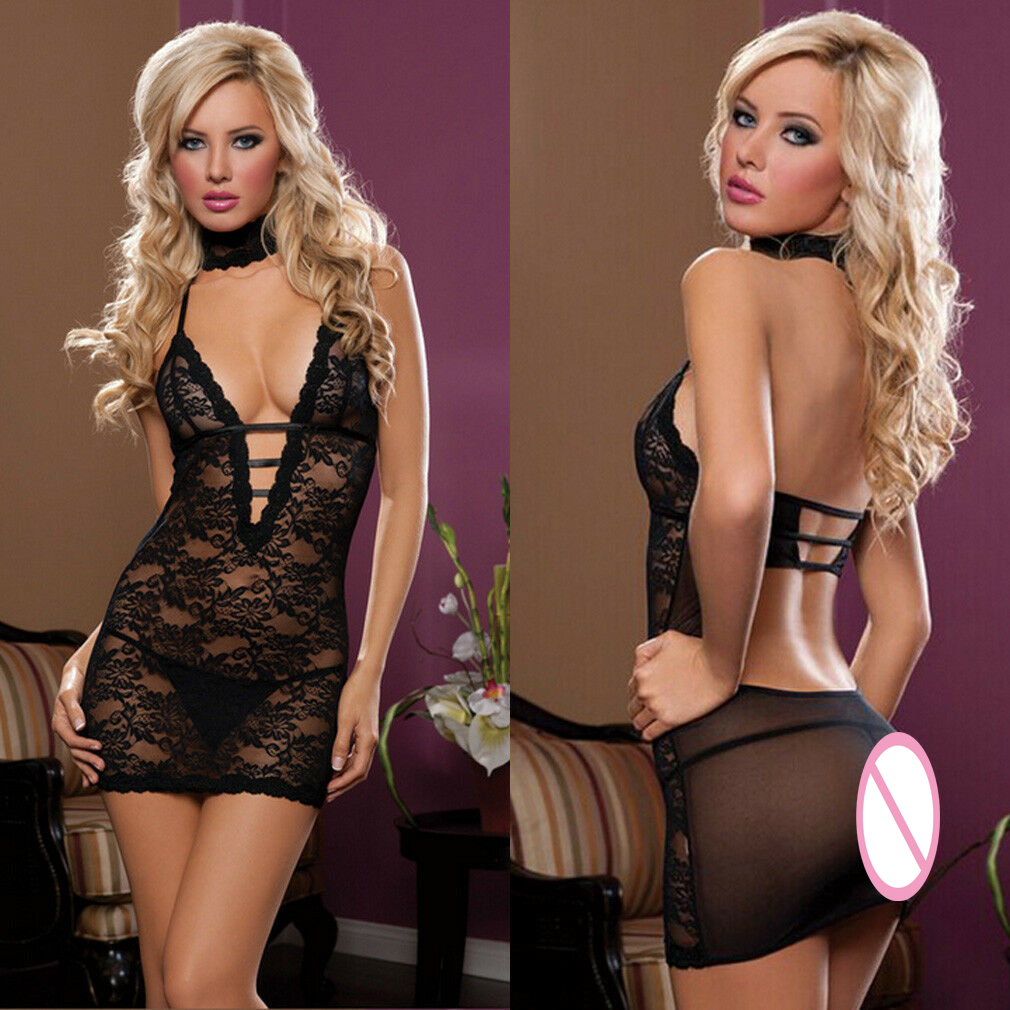 3pcs Women's Sexy Lingerie Babydolls Exotic Hot Halter Sleeveless V-Neck See-Through Lace Floral Backless Costume Sleepwear