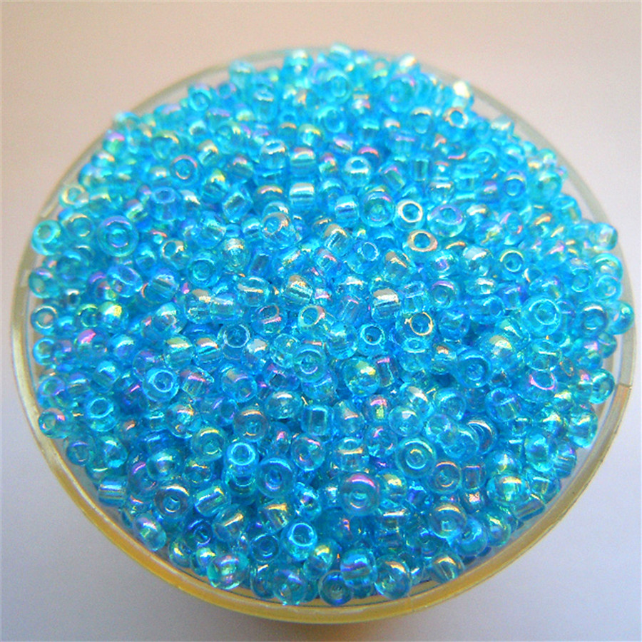 Free Shipping Bright Lake Blue AB 1000Pcs 2mm Czech Glass Seed Spacer Beads Jewelry Making DIY Pick 46 Colors
