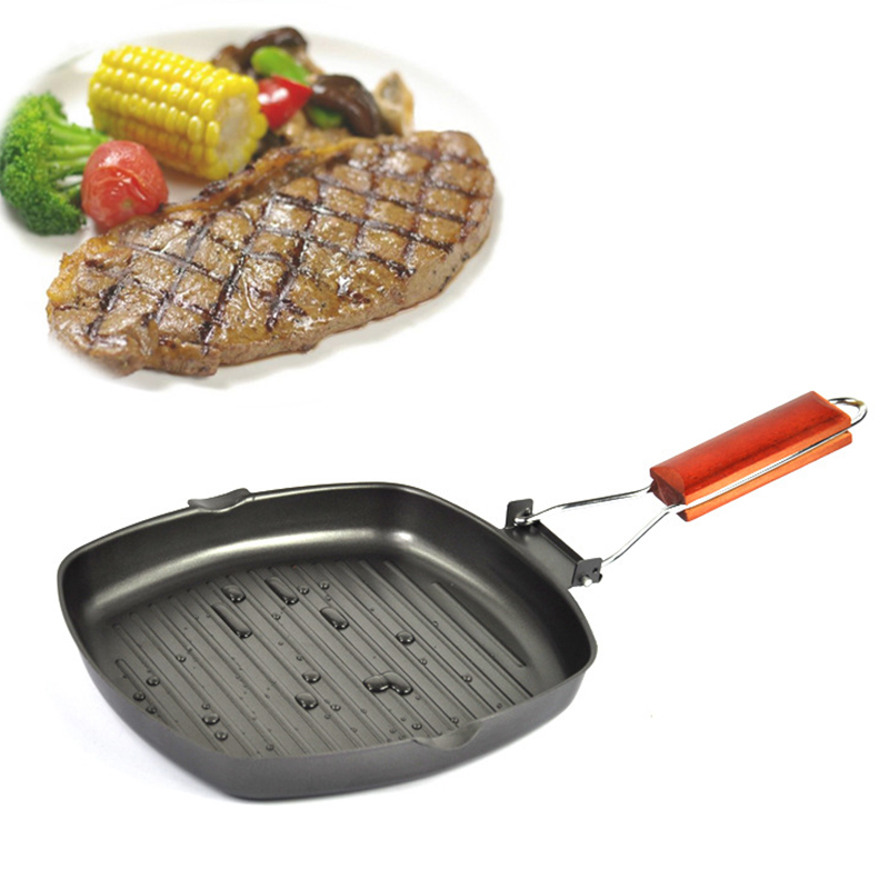 Duolvqi Non-sticky Cast Iron Steak Frying Pan Wooden Handle Folding Portable Square Grill Pan