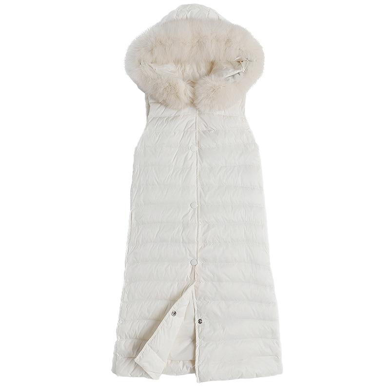 Gilet Renard Outwear Automne Hiver Noir Poches Canard blanc Noir Mode Fourrure Manteau Duvet Capot Blanc Femme Avec Long De 7ZAZw