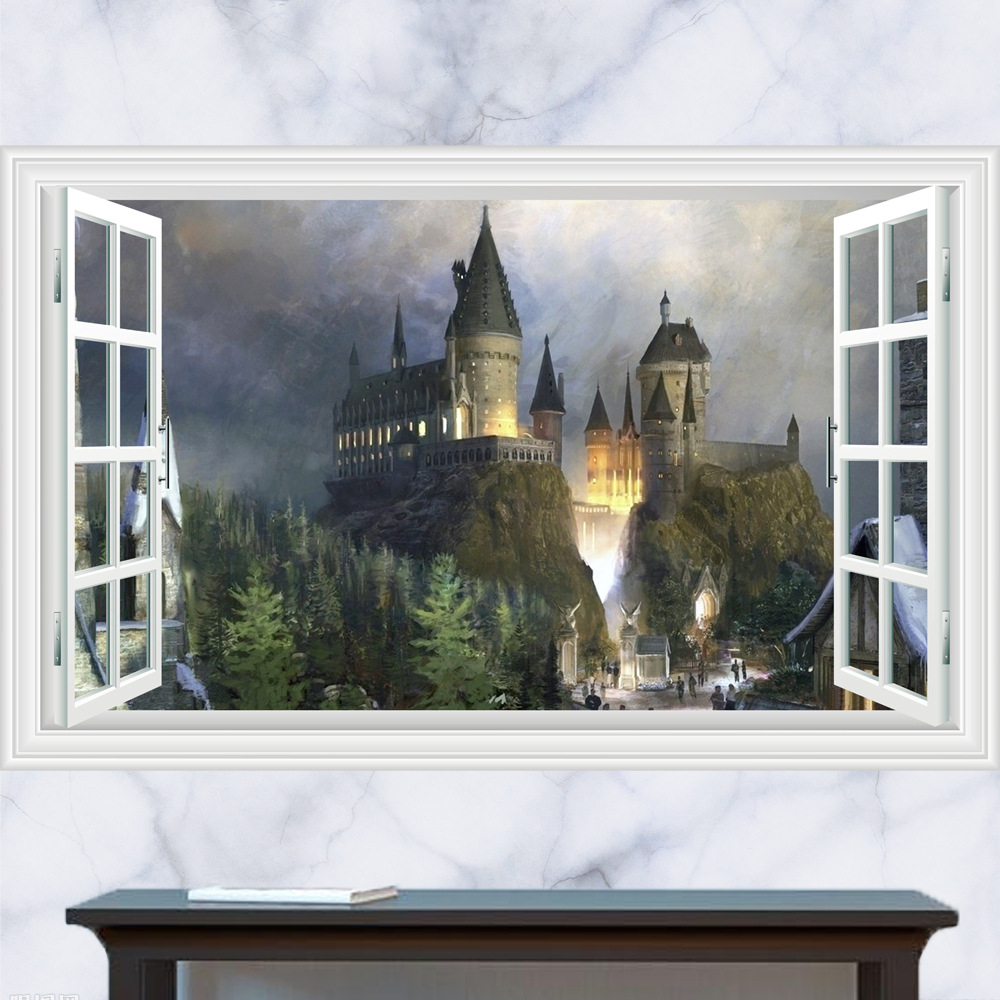 3D-Harry-Potter-Wall-Stickers-School-of-magic-castle-stereo-window-scenery-of-the-living-room (6)