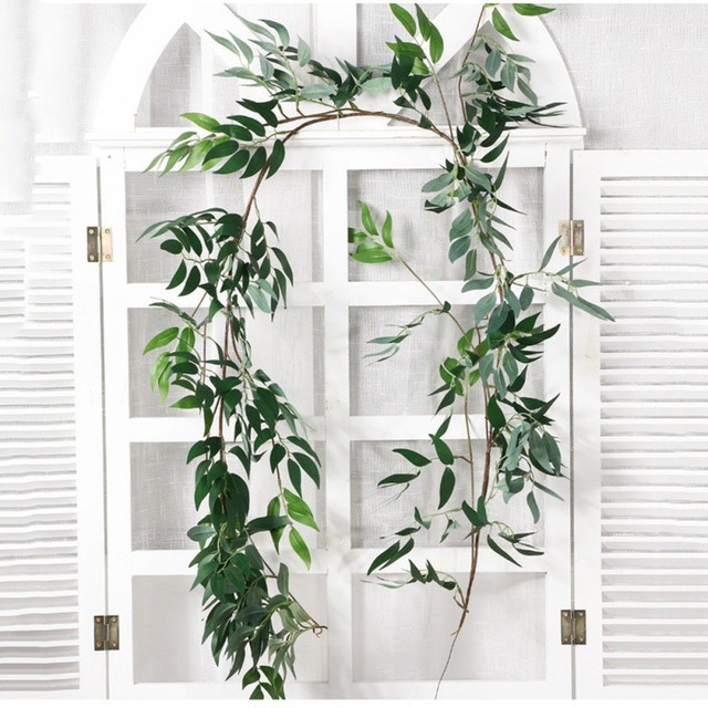 Plastic Artificial Flower Rattan string Artificial Ivy green Leaf Garland Plants Vine Fake Foliage Flowers Home Decor 4