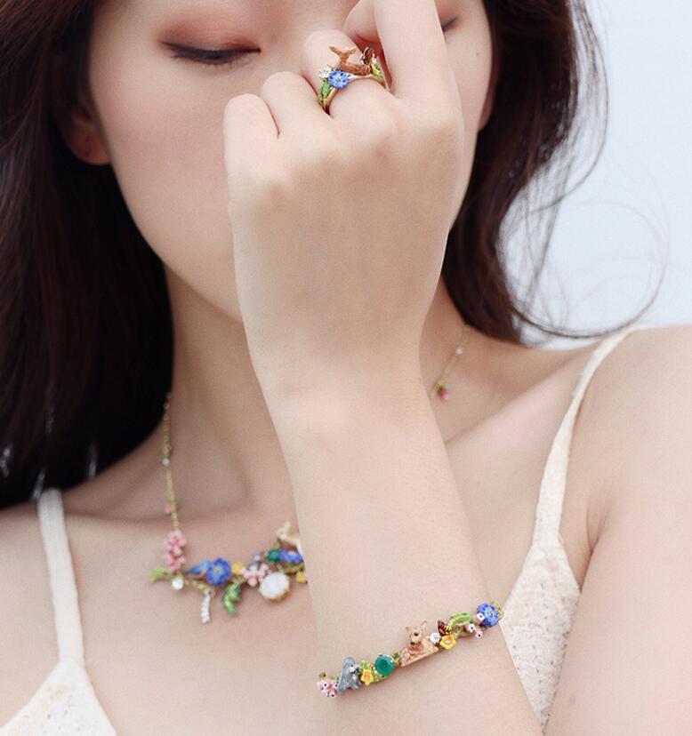 Image 4 - CSxjd 2019 New Enamel Glaze Forest Series Fawn Rabbit Butterfly  Gem Flower Necklace womens jewelry, wedding, party accessoriesJewelry  Sets