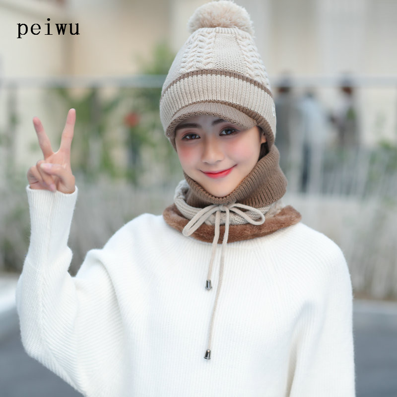 5f053747379 HUAYAN Winter Hats and Scarf Set For Women Knitted Beanies Peaked Cap  Female Collar Plus Velvet Winter Cap -in Skullies   Beanies from Apparel  Accessories ...