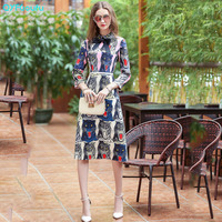 QYFCIOUFU Newest 2018 Summer Dress Women S Long Sleeves High Quality Animal Print Work Office Knee