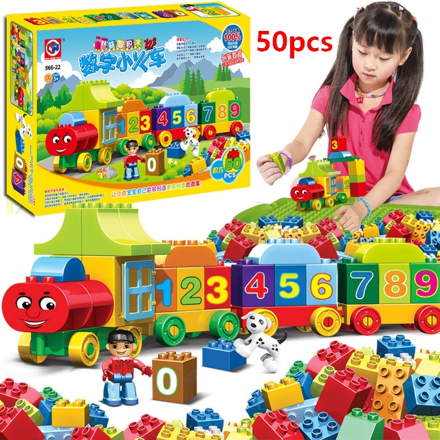 50pcs Large Size Bricks letters Numbers Train Building Blocks Learning and Educational City Toys Compatible With Lego Duploee [bainily]50pcs large particles numbers train building blocks bricks educational baby city toys
