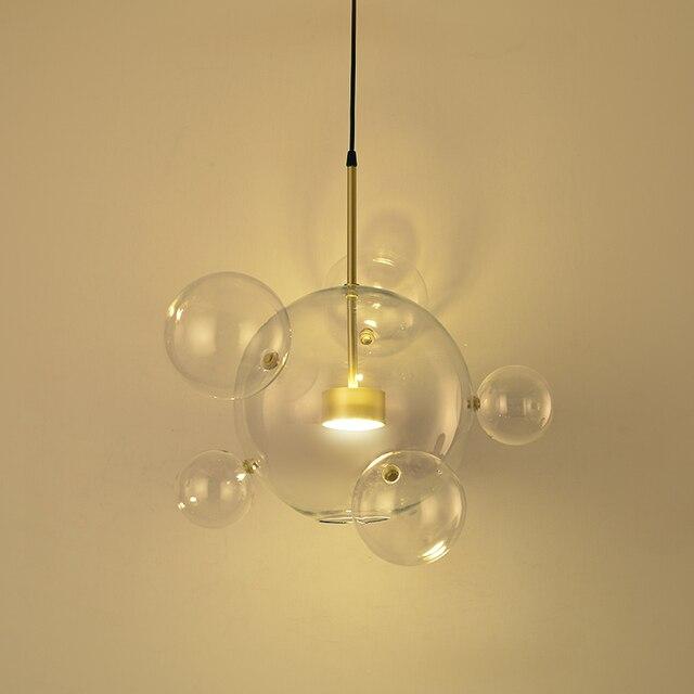 glass drop light fixture wood post modern bolle lamp led pendant light clear glass bubble ball droplight fixtures indoor lighting lustre