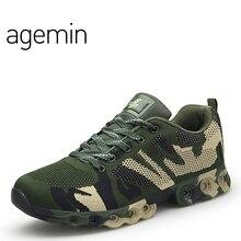 Agemin Summer Fly Weave Camouflage glida på skor män högkvalitativa komfort skor ljus luftnät casual män skor flyga mode