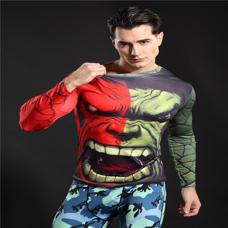 3D Printed T-shirts Short Sleeve Cosplay Fitness Body Building Male Crossfit Tops Punk Skull Skeleton Compression Shirts Men